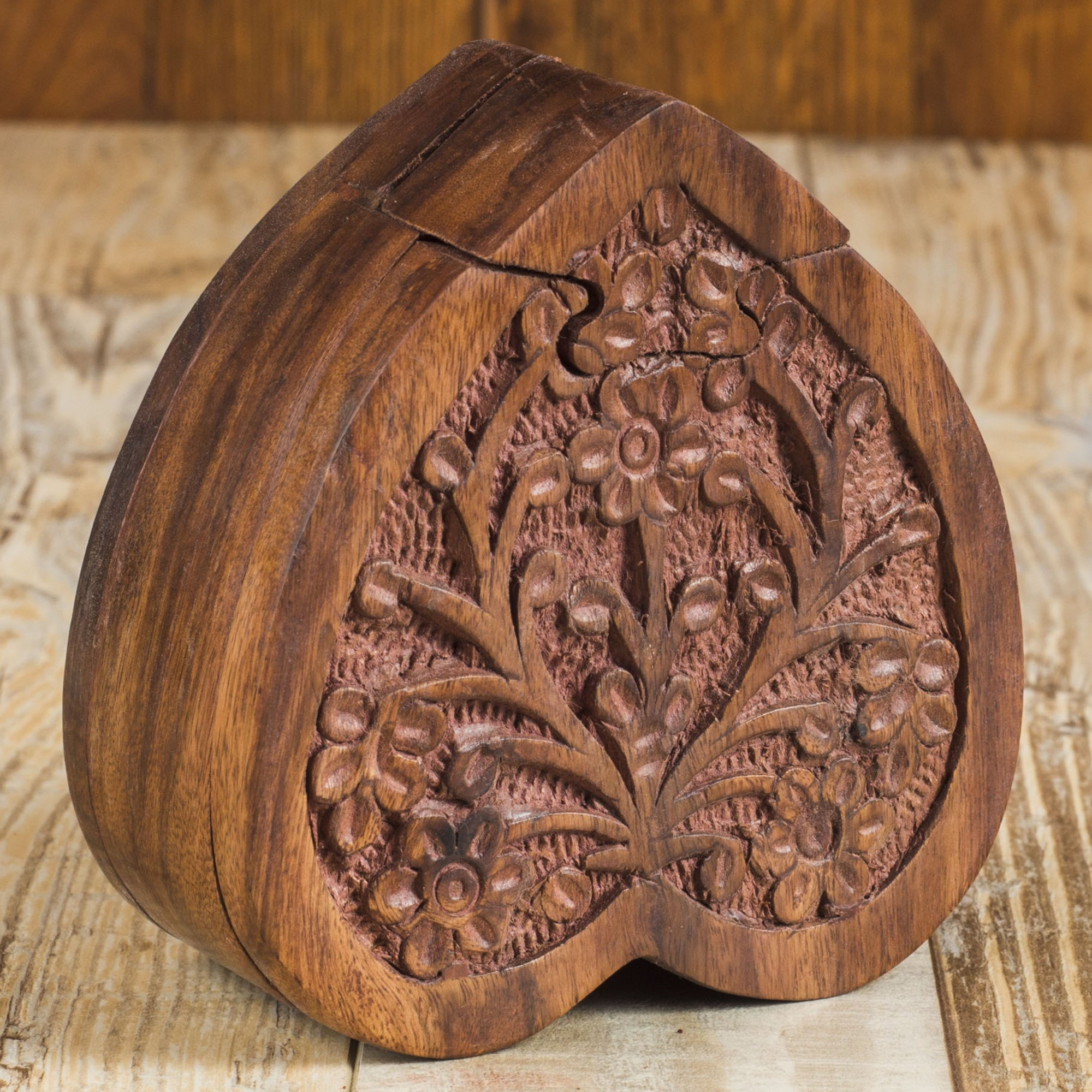 Rusticity Wooden Puzzle Box - Heart Shape with Secret Storage | Handmade | (4.5 X 4.3 in)
