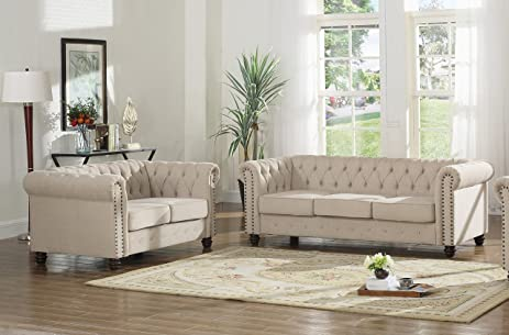 U.S. Livings Lilyana Modern Living Room Chesterfield Sofa Set (Loveseat And  Sofa, Beige)