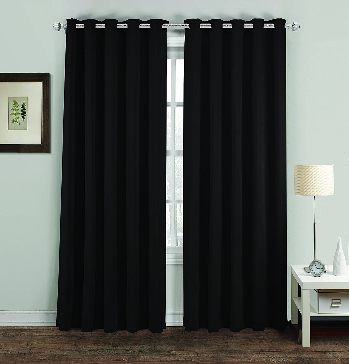 MH Distributions Luxury Thermal Supersoft Blackout Curtains Pair Eyelet Ring Top UAREHOME (Cushion Covers 18x18 Inches, Black) MH Distributions LTD