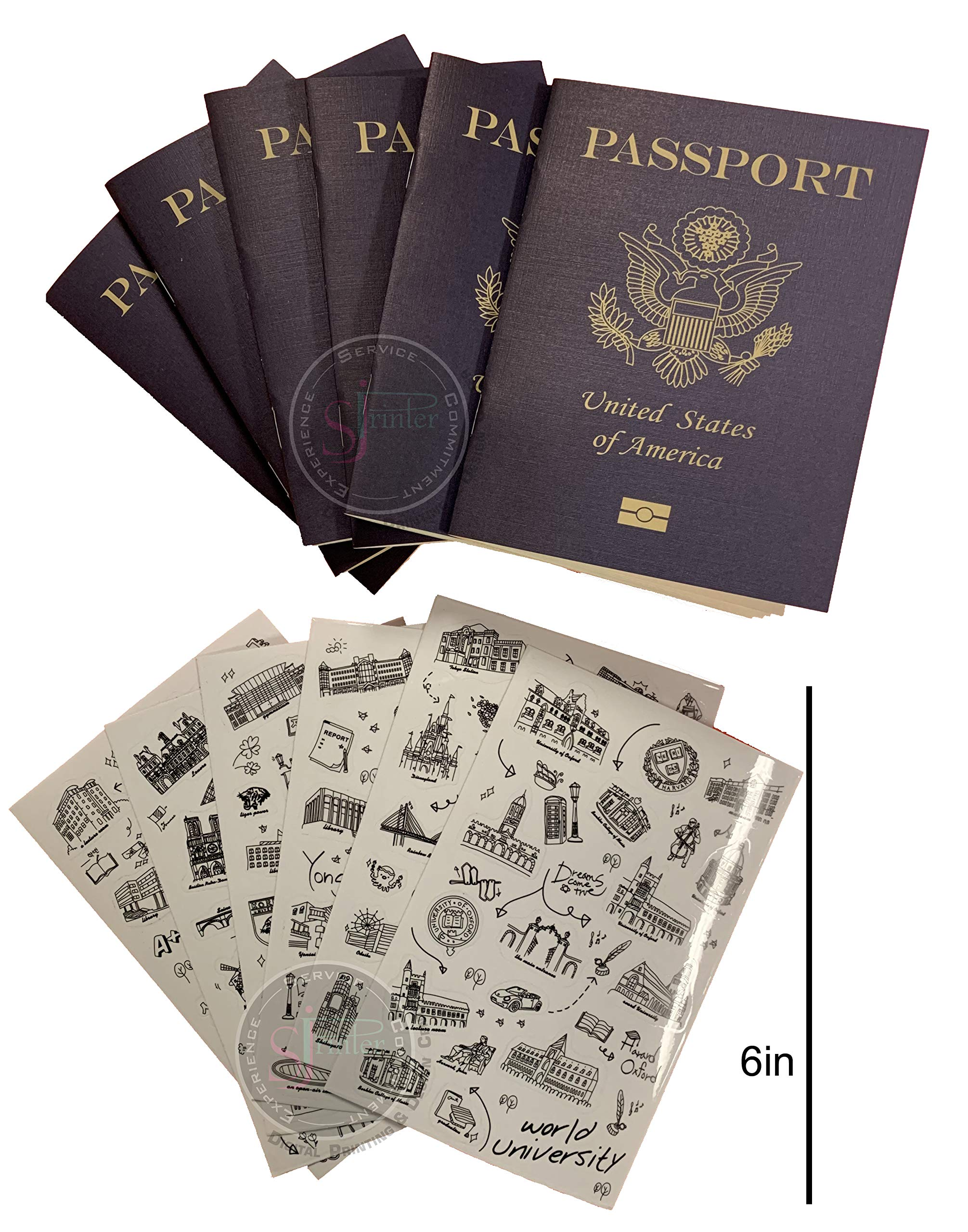 Passport |Little passports for kids |Travel scrapbook | Set with travel stickers world famous sights |Pretend play, party favors, airplane toy, journal notebooks, geography, classroom social study