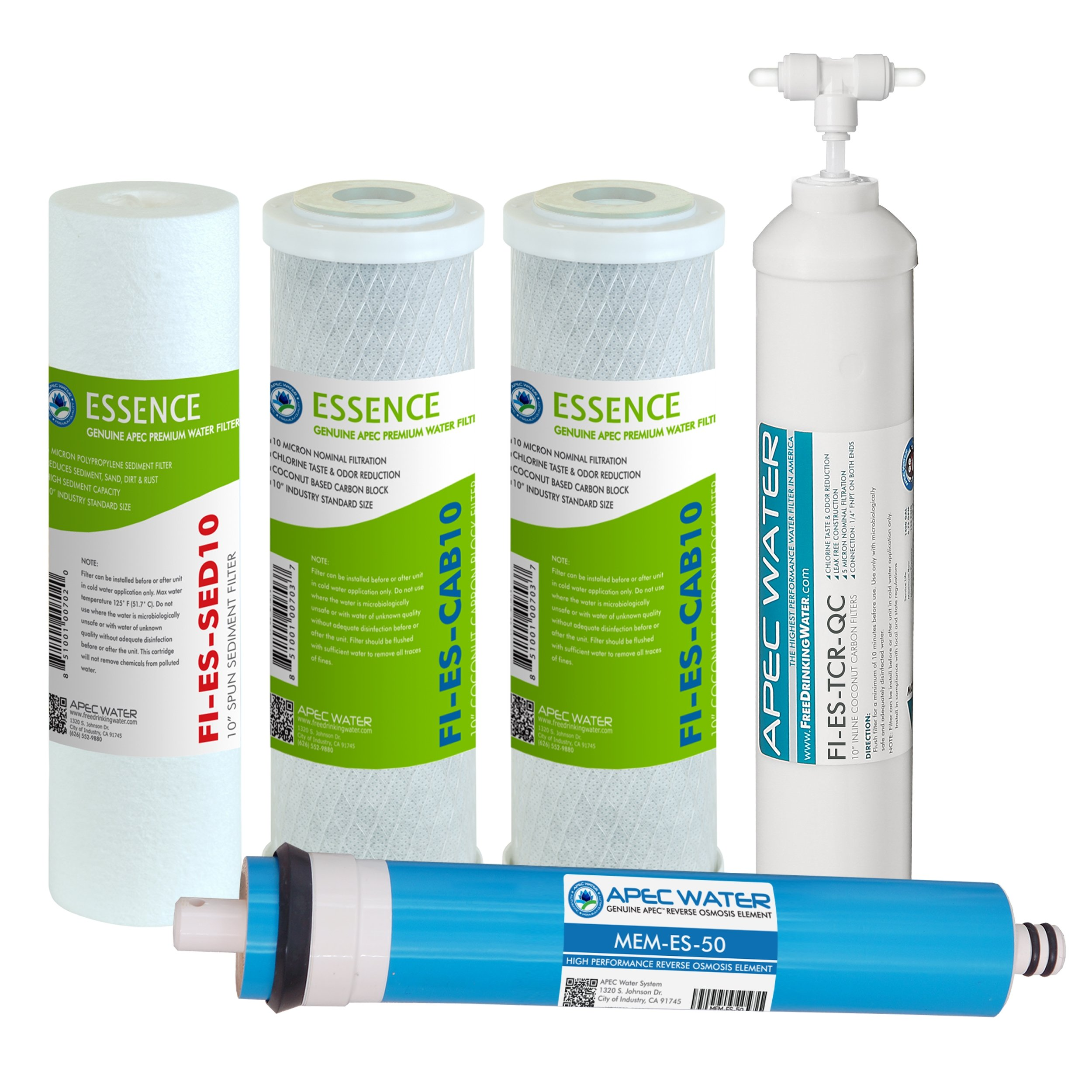 APEC Water Systems FILTER-MAX-ES50 50 GPD High Capacity Complete Replacement Filter Set For Essence Series Reverse Osmosis Water Filter System Stage 1-5 by APEC Water Systems