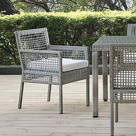 Amazon Com Modway Aura Wicker Rattan Outdoor Patio Dining Arm Chair With Cushion In Gray White Garden Outdoor