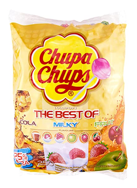 Chupa Chups Lollipops The Best Of, Piruletas, diferentes tipos, 250 Unidades, 3kg