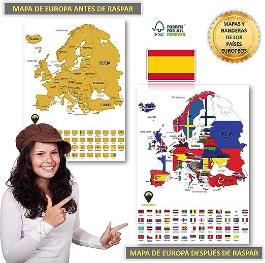 Global Walkabout ESPAÑOL - Mapa de scratch de países europeos con fondo de banderas - Regalo De Viaje (White): Amazon.es: Oficina y papelería