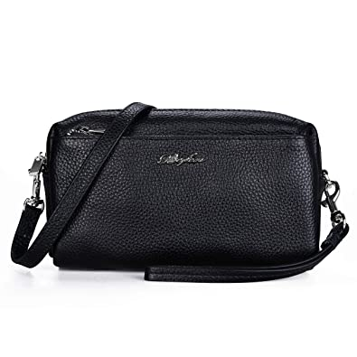 345acd60064c Befen Women Full Grain Leather Tripple Zip Crossbody Bag Crossbody Cell  Phone Purse Wallet Bag Phone