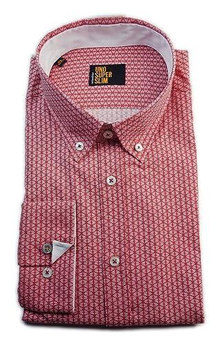 Seidensticker Herren Langarm Hemd UNO Super Slim Stretch Button-Down-Kragen rot / weiß strukturiert ...