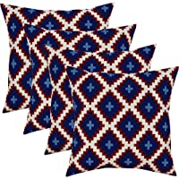 """RSH Décor Set of 4 Indoor/Outdoor Square Throw Pillows (17""""x17"""") American Patriotic Geometric, Red, White and Blue"""