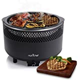 NutriChef Upgraded Charcoal BBQ Grill - Smokeless Portable Outdoor Stainless Steel Compact Easy Cleaning Heavy Duty - Battery Powered W/Grilling Rack Coal Basket Ignition Tray & Box Set - PKGRCH41