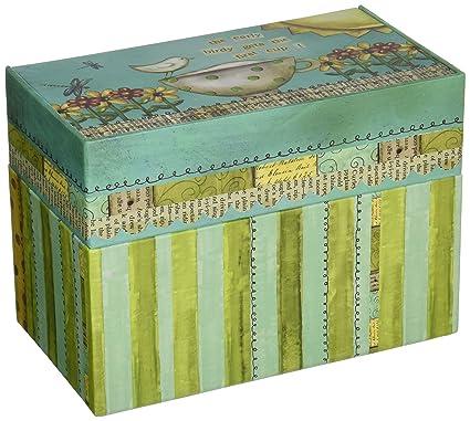 amazon com lang artisan recipe card box with recipe cards color my