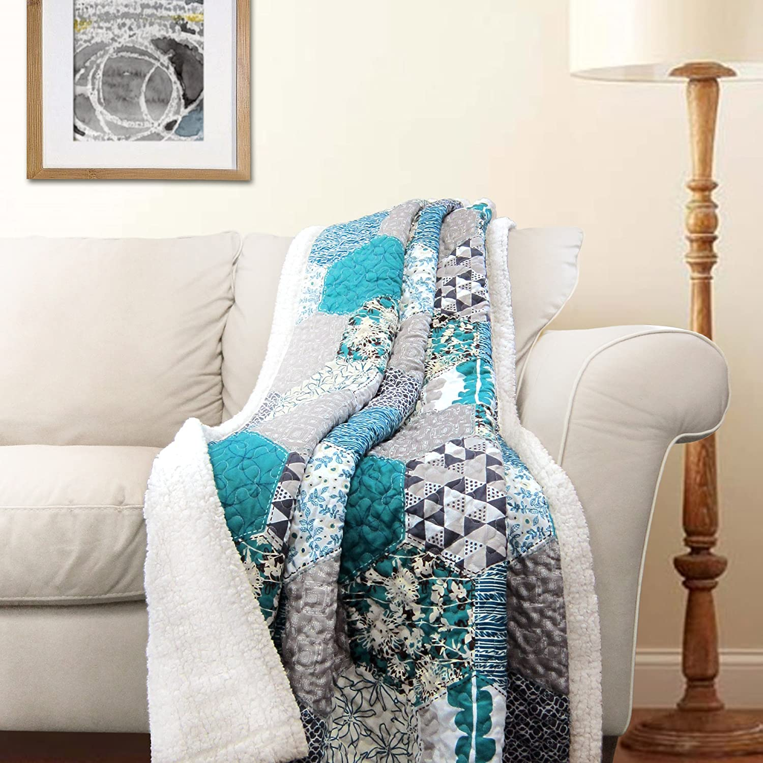 """Lush Decor Briley Reversible Throw-Colorful Hexagon Patchwork Pattern Blanket-60 x 50"""", Turquoise"""