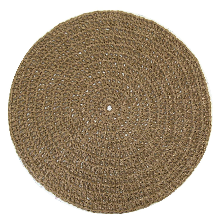 Round Jute Area Rug - Minimalist - Handmade Crochet with Natural Fiber - 35