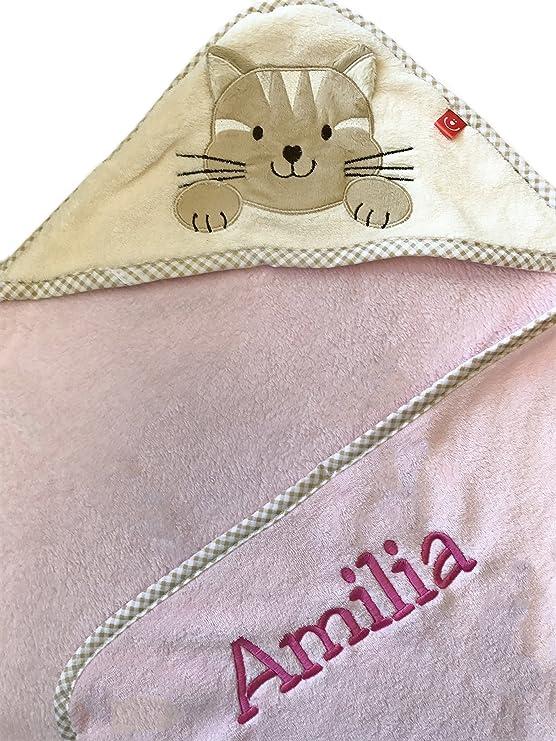 Toalla con capucha con nombre y fecha de nacimiento bordado/Toalla de baño de microfibra - Cálido/76 x 80 Apfelgrün - AFFE: Amazon.es: Bebé