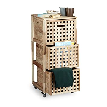 Rollcontainer bad holz  Relaxdays Rollcontainer Holz mit 3 Fächern Walnuss HBT: ca. 91,5 x ...
