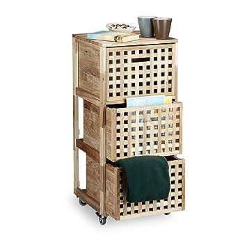 Relaxdays-Mueble de almacenaje Madera de Nogal, con Ruedas y Medidas Hbt: Unos