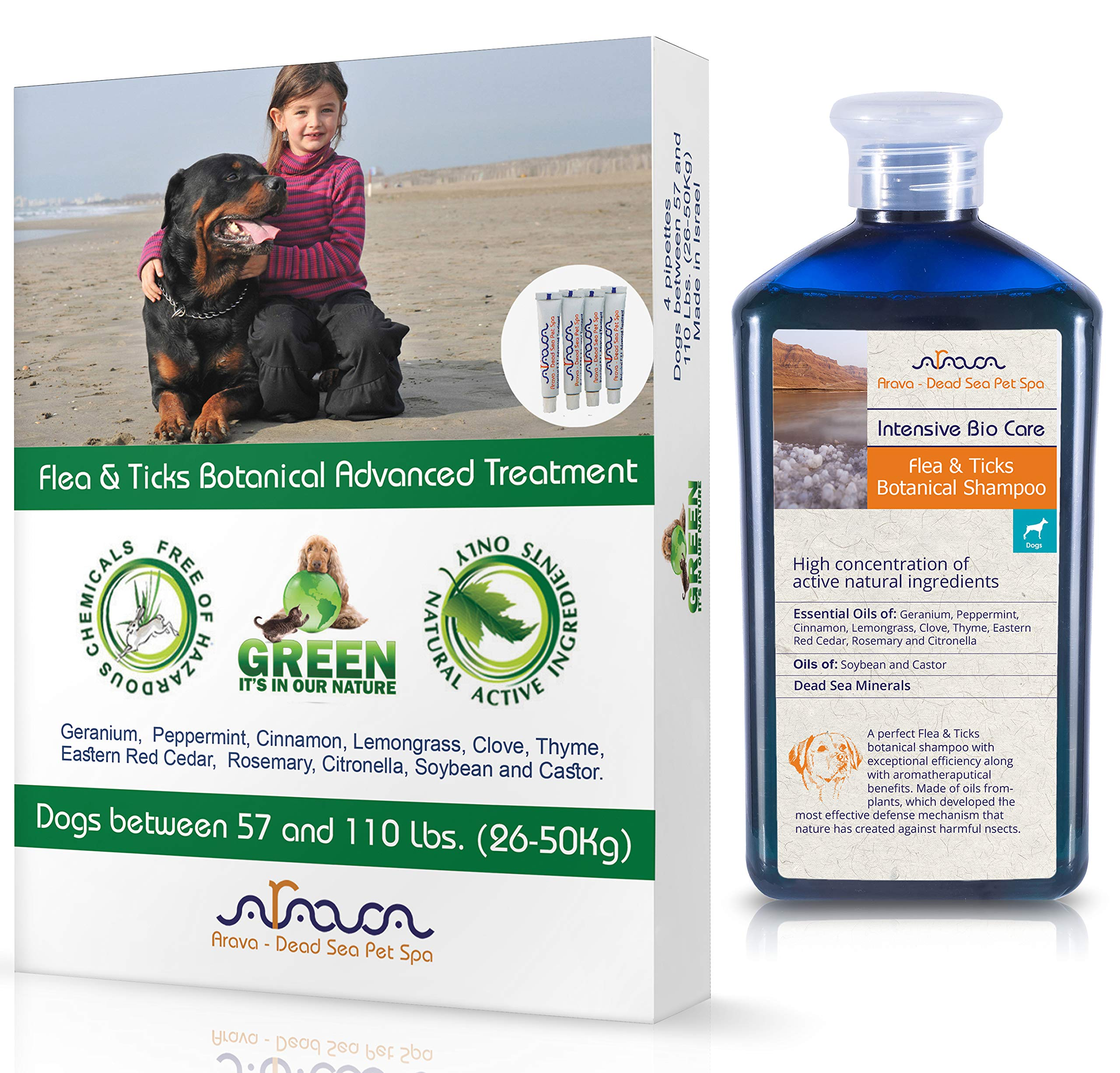 Arava Natural Flea & Tick Prevention for Dogs & Cats - 4-Doses - 100% Safe Flea & Tick Control - Repels Pests with Natural Oils - Safe on Skin and Coats - Enhanced Defense & Prevention (4 Variations) by Arava - Dead Sea Pet Spa