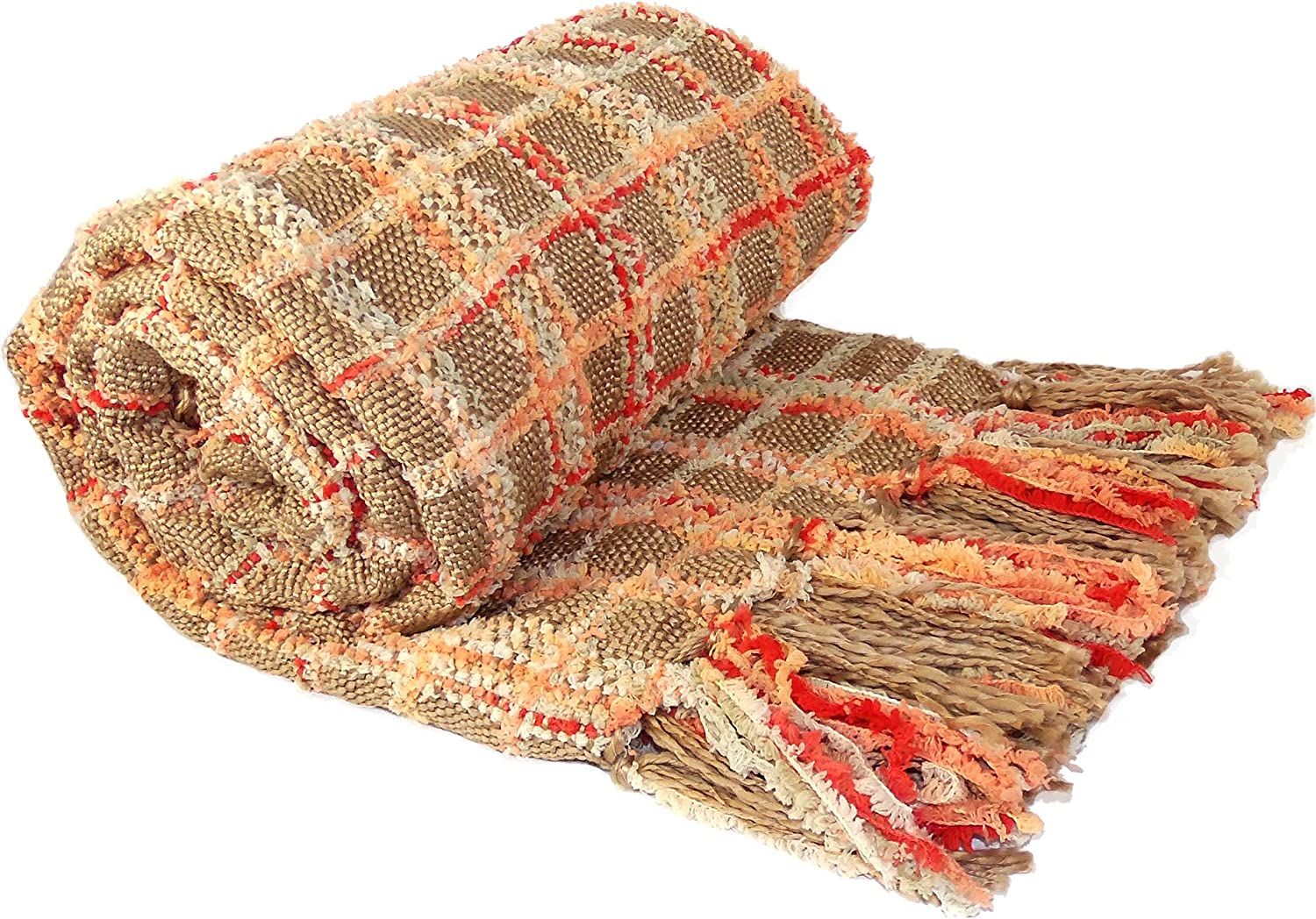 """Home Soft Things Multi-Color Chenille Couch Throw Blanket, 50"""" x 60"""", Burnt Orange"""