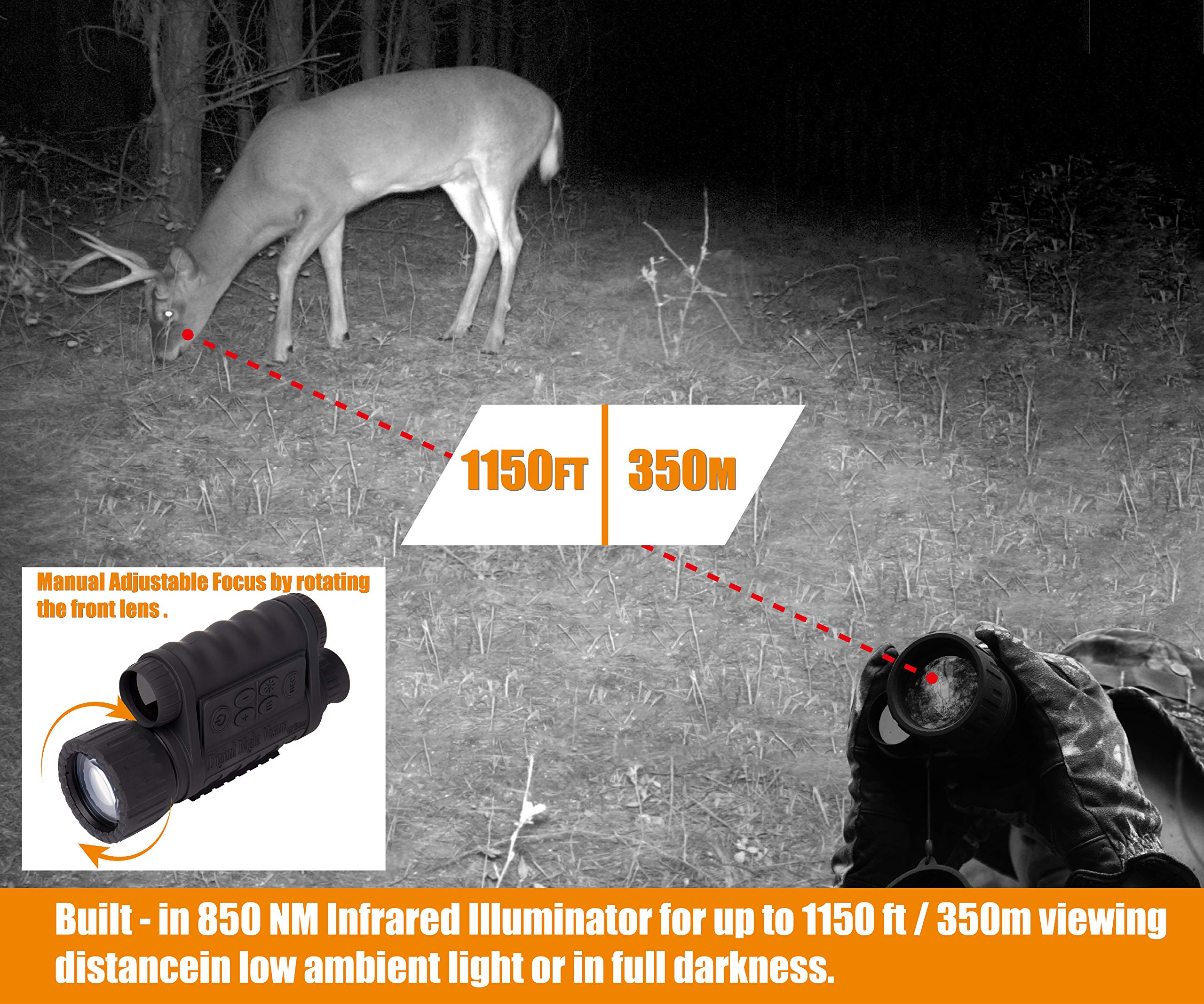 Summit Tools HD Digital Night Vision Monocular up to 1150 FT Range, 1.5-inch Display with Camera&Camcorder Function, 6X Magnification and 50 mm Objective Lens, Takes 5MP Photo & HD Video by Summit Tools (Image #5)