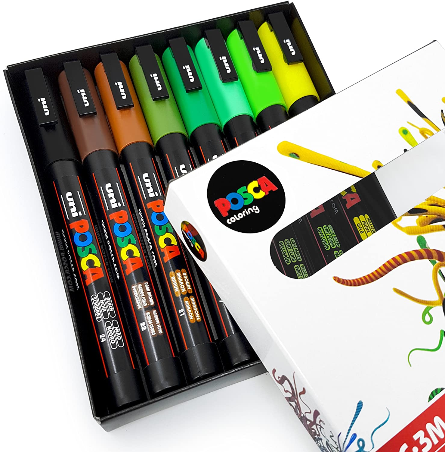 POSCA Colouring - PC-3M Earth Tones - Set of 8 - In Gift Box