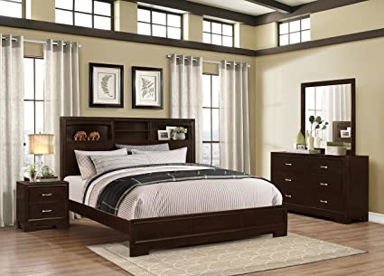 Amazon.com: Roundhill Furniture Montana Modern 4-Piece Wood Bedroom ...