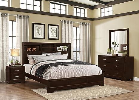 Amazon.com: Roundhill Furniture Montana Modern 4-Piece Wood Bedroom ...