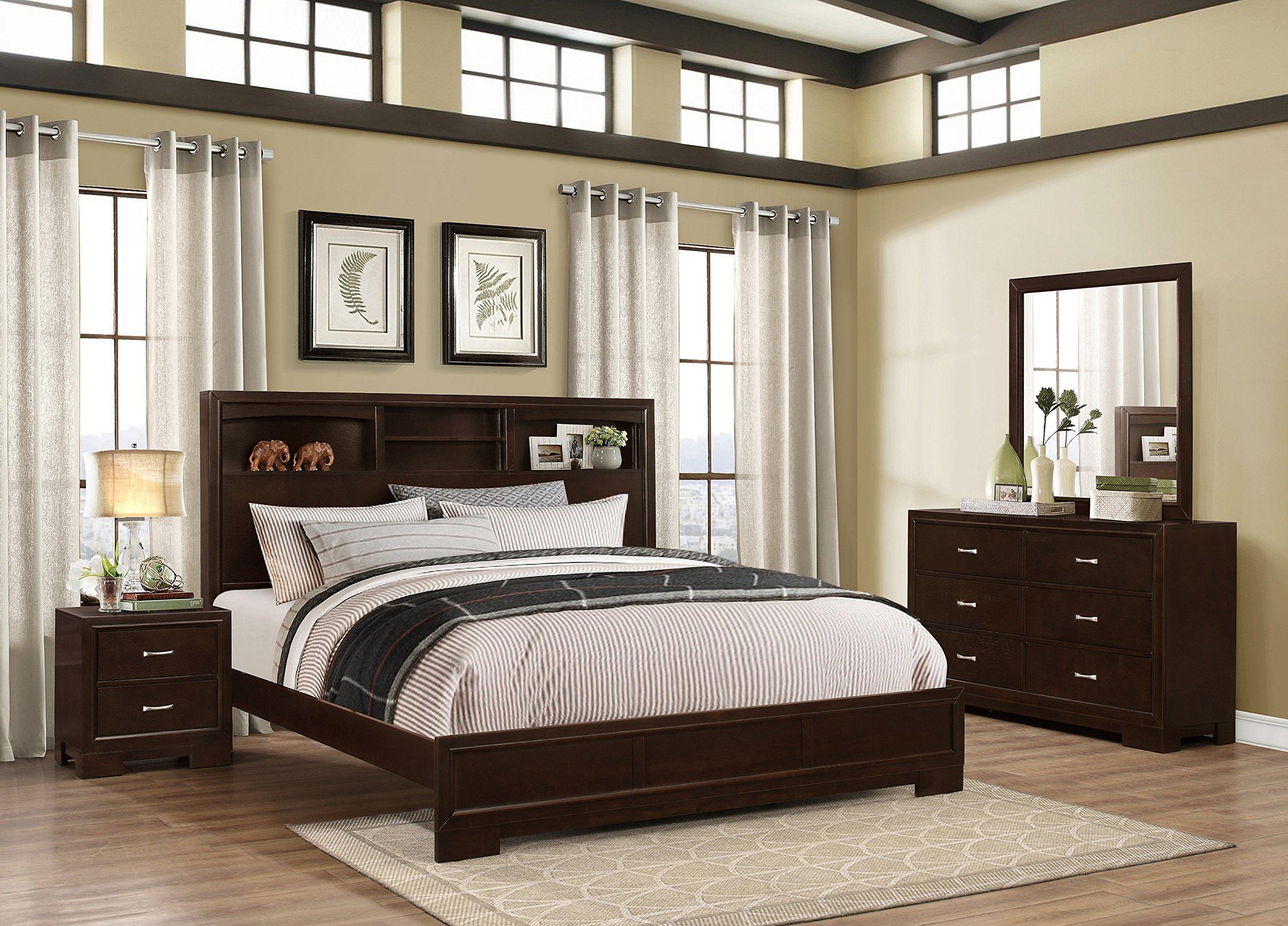 Roundhill Furniture Montana Modern 4-Piece Wood Bedroom Set with Bed, Dresser, Mirror, Nightstand, King, Walnut