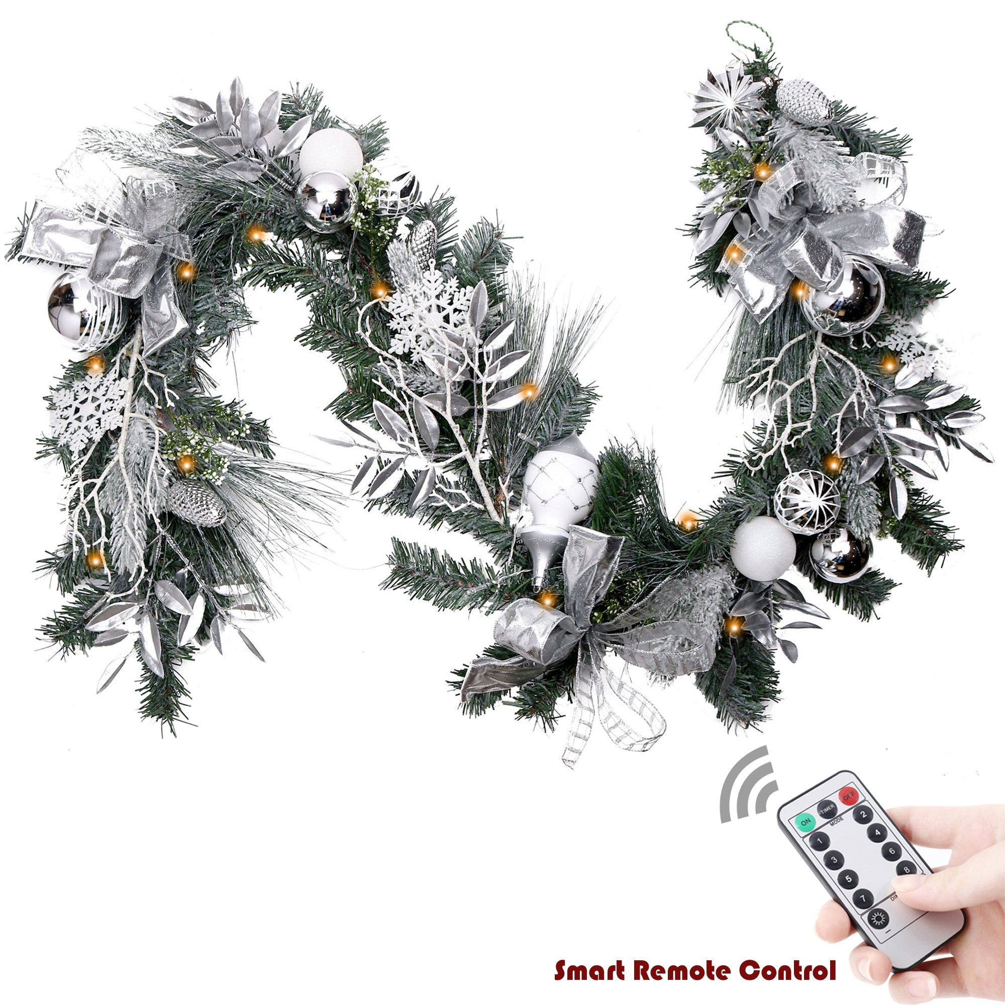 V&M VALERY MADELYN 6 Feet Silver Artificial Spruce Garland for Wedding Party Garden Office Wall Staircase Decoration, Balls Included, Battery Operated 20 LED Lights with Remote and Timer