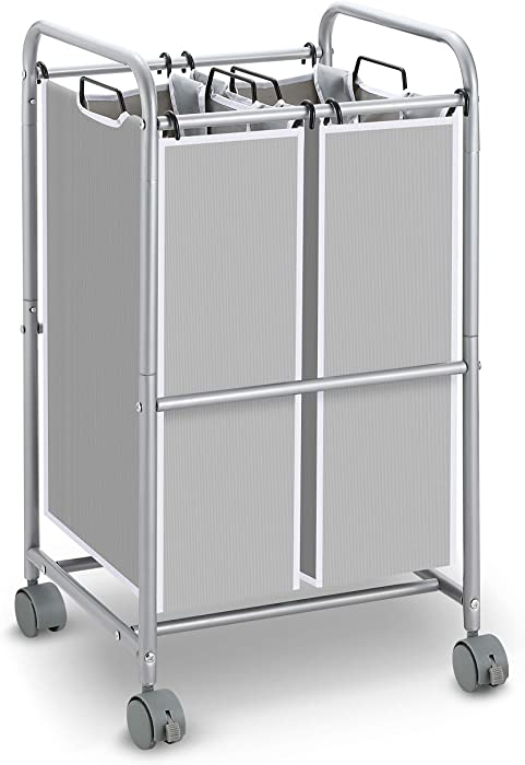 Simple Trending Heavy Duty 2-Bag Laundry Hamper Sorter Cart with Rolling Wheels, Silver