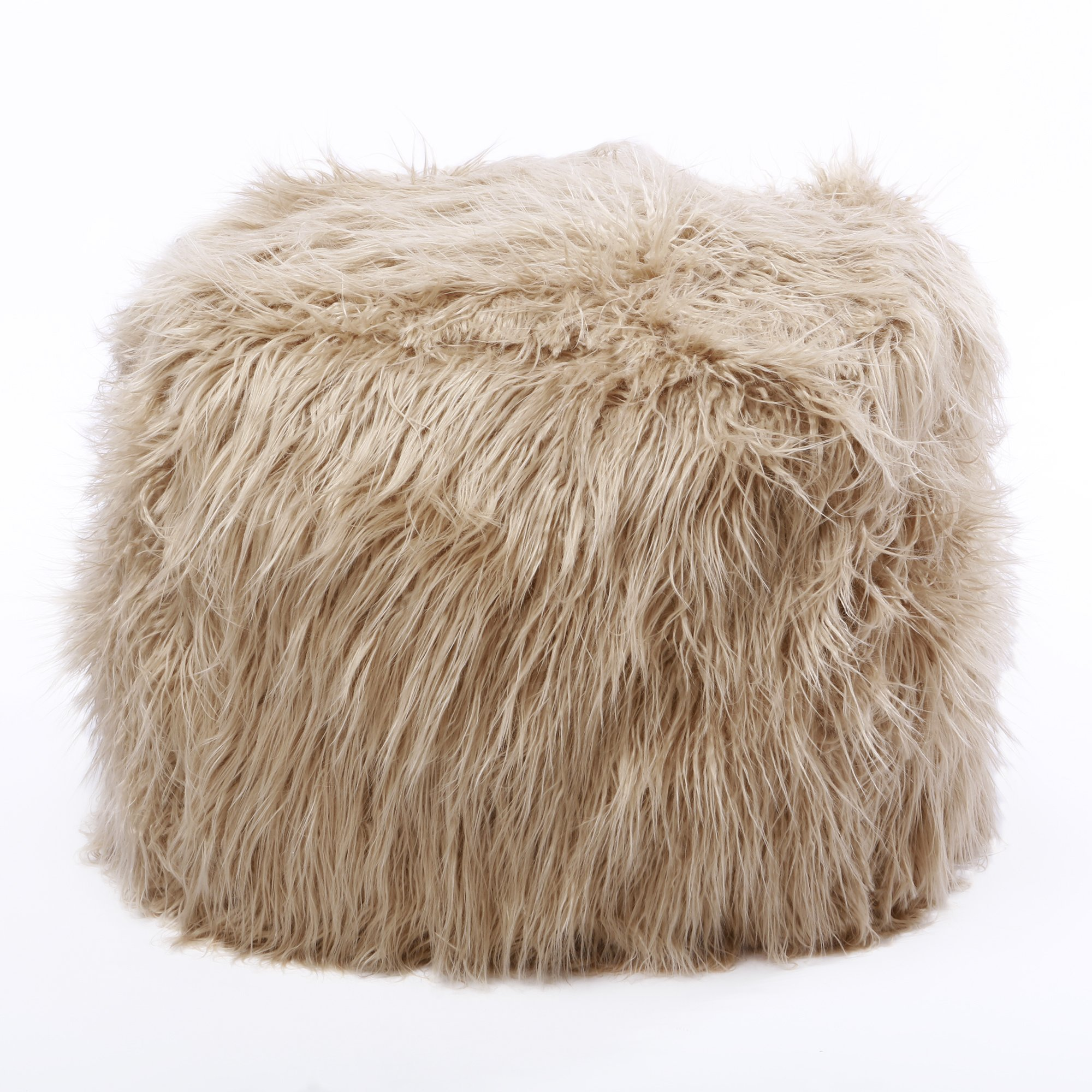 Best Home Fashion Taupe Faux Fur Tibetan Lamb Pouf 18''x18''x18''