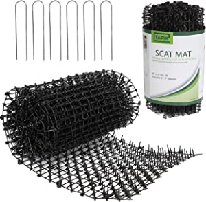 Tapix Anti-cat Network Cat Scat Mat with Spikes Digging Stopper - Cat Deterrent Mat for Indoor and Outdoor 8 feet x 12 feet with 6 Staples