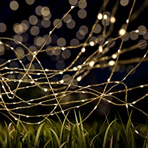 Pure Garden 50-LG1011 Outdoor Starry String Solar Powered Warm White Fairy 200 LED 8 Lighting Modes for Patio, Backyard, Events