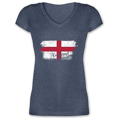 Fußball Weltmeisterschaft 2018 England Vintage Damen T Shirt mit V Ausschnitt