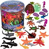SCS Direct Ocean Sea Creature Action Figures - Big Bucket of Sea Creatures - Huge 30 Piece Set