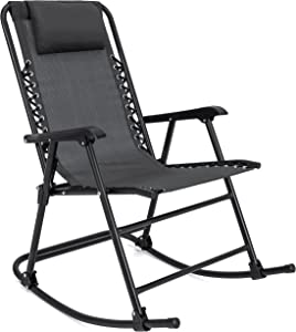 Best Choice Products Foldable Zero Gravity Rocking Mesh Patio Recliner Chair w/Headrest Pillow, Black