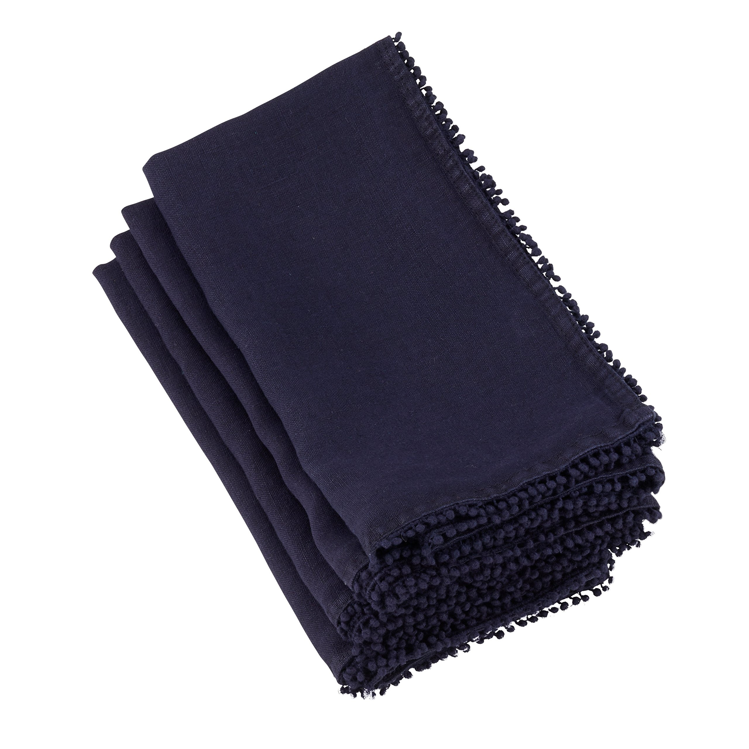 SARO LIFESTYLE 15062.MB20S Pomponin Collection Beautiful Linen Table Napkins With Pompom Design (Set of 4) 20'' Midnight Blue