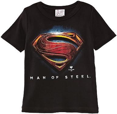 6e8c82f6 Logoshirt Boy's Kids Superman Man of Steel Logo T-Shirt: Amazon.co.uk:  Clothing