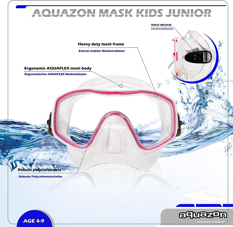 Masque de plong/ée pour Enfants Lunettes de plong/ée Forme Ergonomique AQUAZON Fun Masque Tuba Junior tr/ès r/ésistant Lunettes de Natation Jeunes de 3 /à 7 Ans