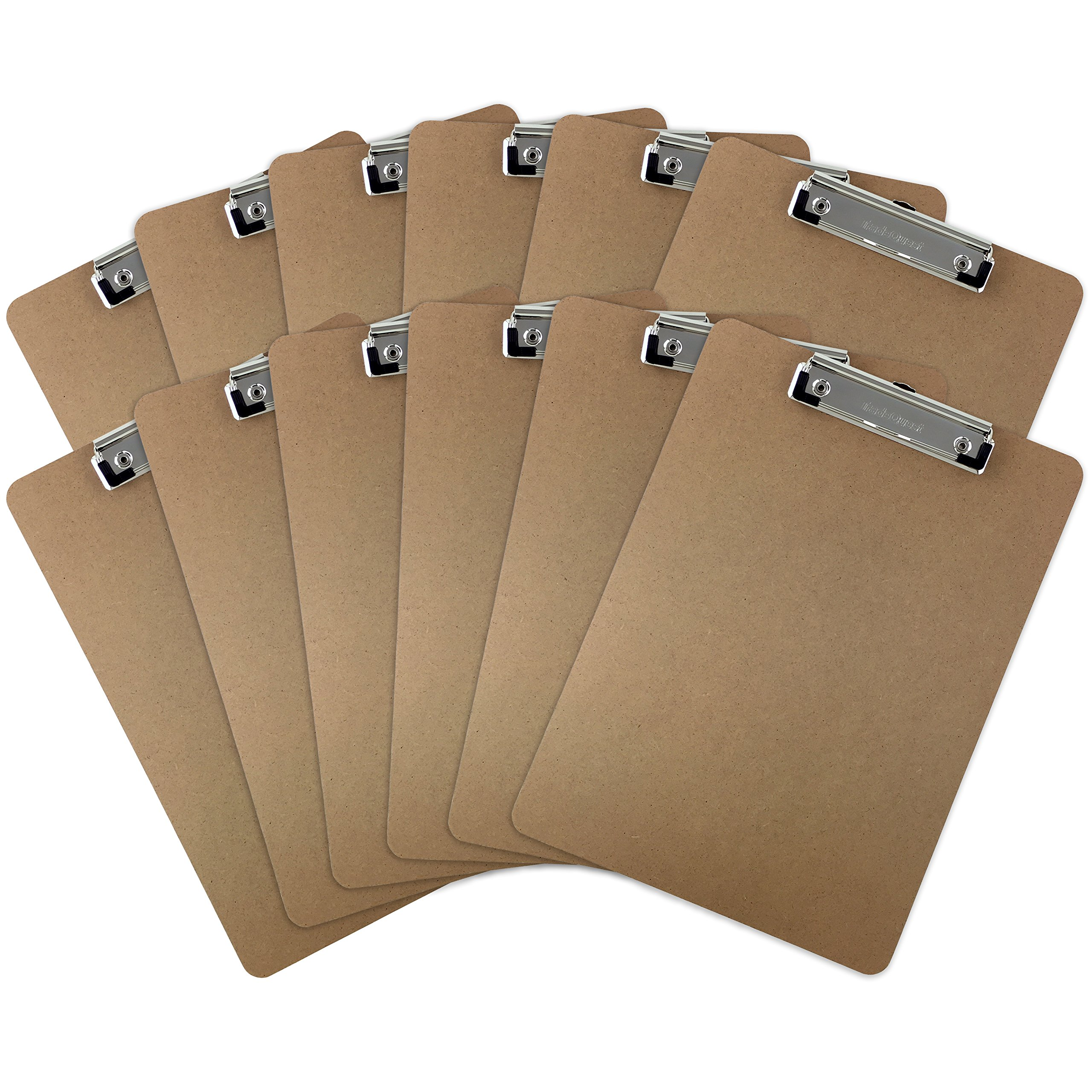 Trade Quest Letter Size Clipboards Low Profile Clip, Hardboard (Pack of 12) by Trade Quest