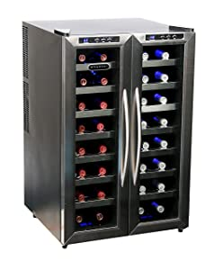 Whynter WC-321DD 32 Bottle Dual Temperature Zone Wine Cooler, Stainless Steel Trimmed Glass Door with Black Cabinet