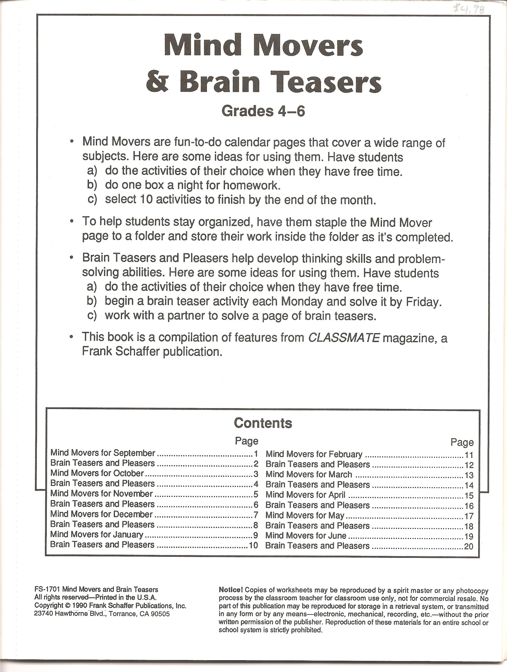 worksheet Frank Schaffer Publications Worksheets mind movers and brain teasers for grades 4 6 blackline reproducibles frank schaffer staff amazon com books