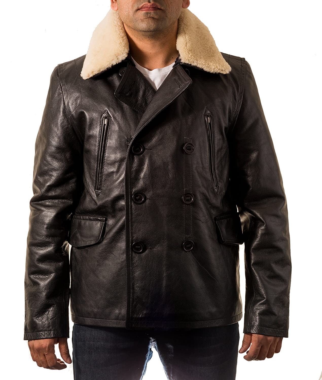 Mens Black WW2 Military Airforce Style Cowhide Leather Jacket & Sheepskin Collar