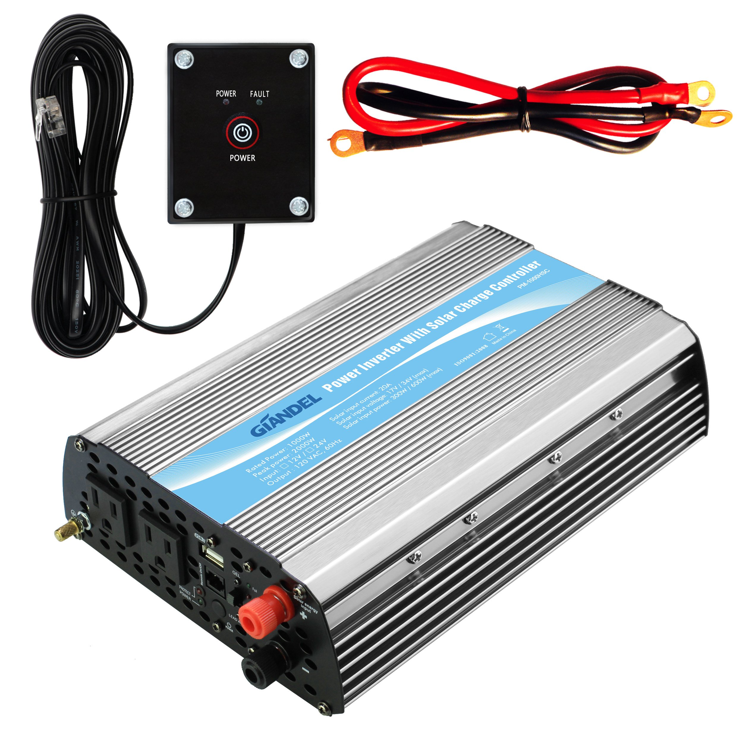 Giandel 1000Watt Power Inverter 24V DC to 110V-120VAC with Remote Controller and Solar Charge Control and Dual AC Outlets & USB Port by GIANDEL