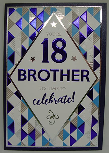 Brother Happy 18th Birthday Card Blue Balloons Amazon Co Uk