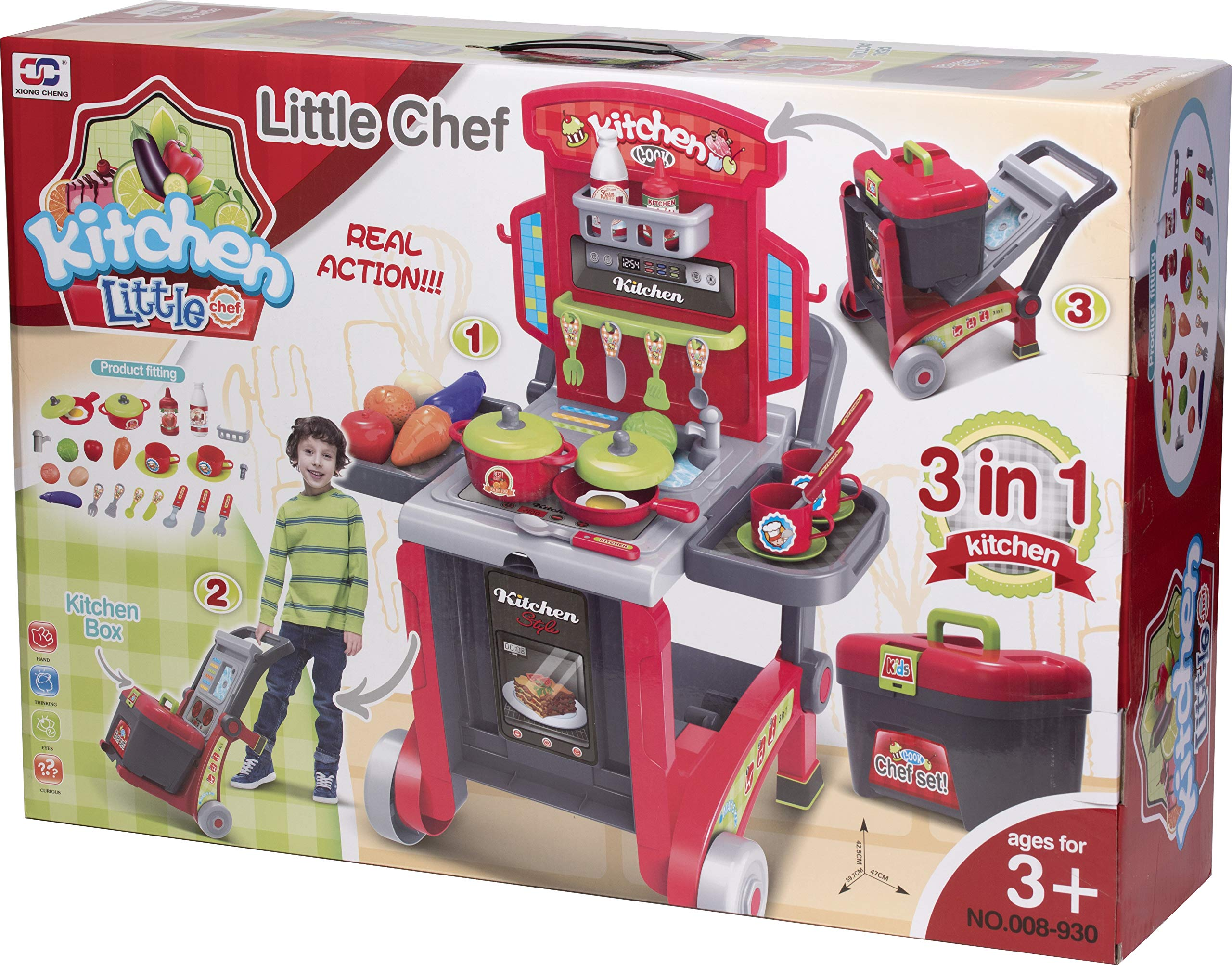 Kitchen Cook Grill Boys Playset Oven Stove, Vegetables, Pots & Pans, Cups, Utensils w/ Compact Carry Case by Kitchen Cook (Image #7)
