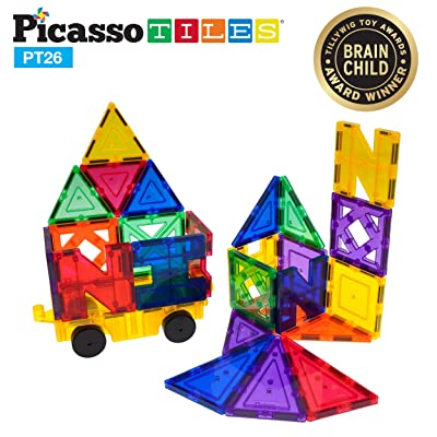 PicassoTiles PT26 Inspirational Set Magnet Building Tiles Clear Color Magnetic 3D Building Block - Creativity Beyond Imagination! Educational, Inspirational, Conventional, Recreational: Toys & Games