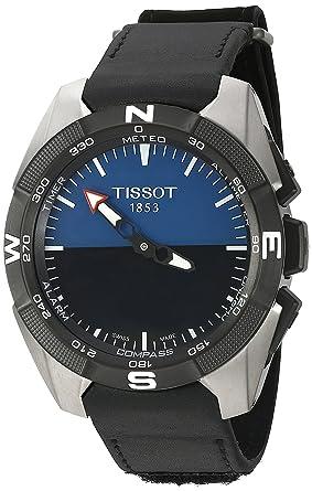 95cbc49daaf Amazon.com: Tissot Men's Swiss Quartz Titanium and Black Leather ...