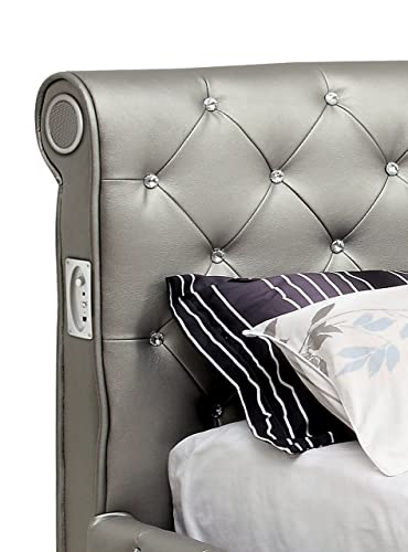 Furniture of America Chloe Acrylic Tufted Leatherette Platform Bed with with Bluetooth Speakers, Queen, Silver