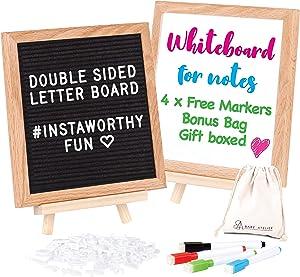 "Letter Board White Board Double Sided - 2 in 1 Felt Letter Board with Stand - Felt Boards with Letters – 10x10"" Black Letter Board, Mini White board, 340 Characters, Wall Mount to hang by Bare Atelier"
