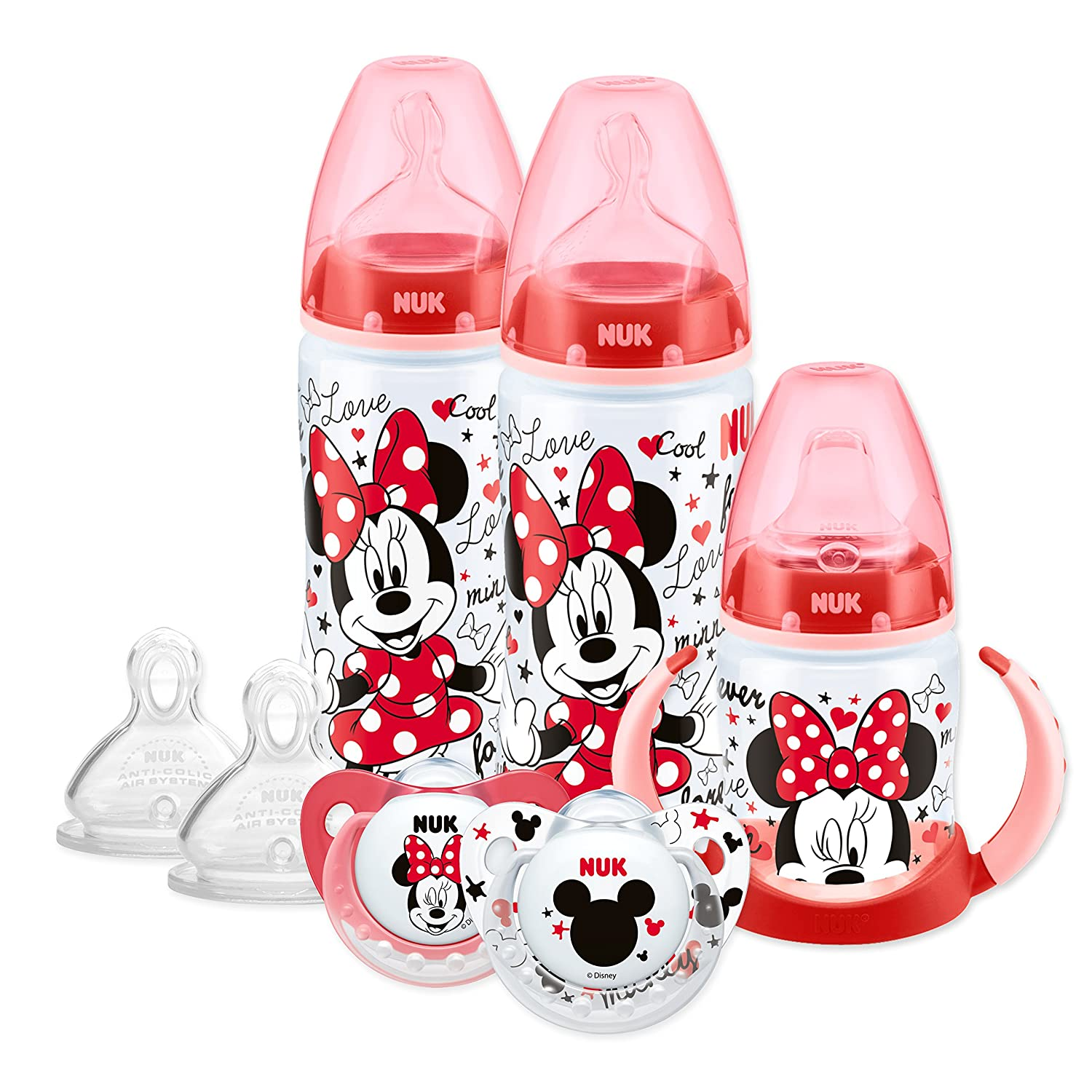 NUK Disney Minnie/Mickey Mouse Bottle, Cup & Soother Set (6-18 months, design may vary) 10759020