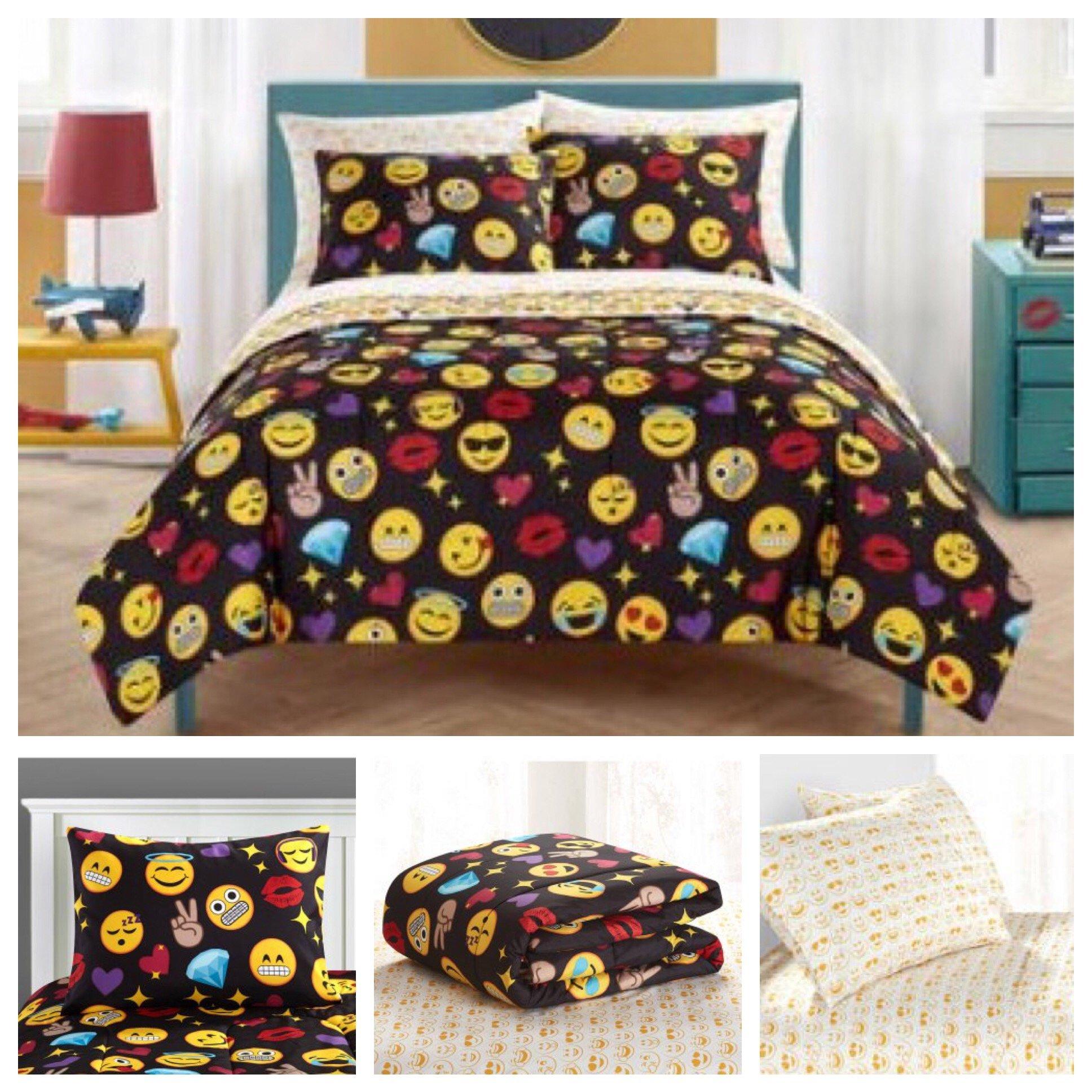 Emoji Complete 7 Piece Reversible Bedding Comforter Set - Full