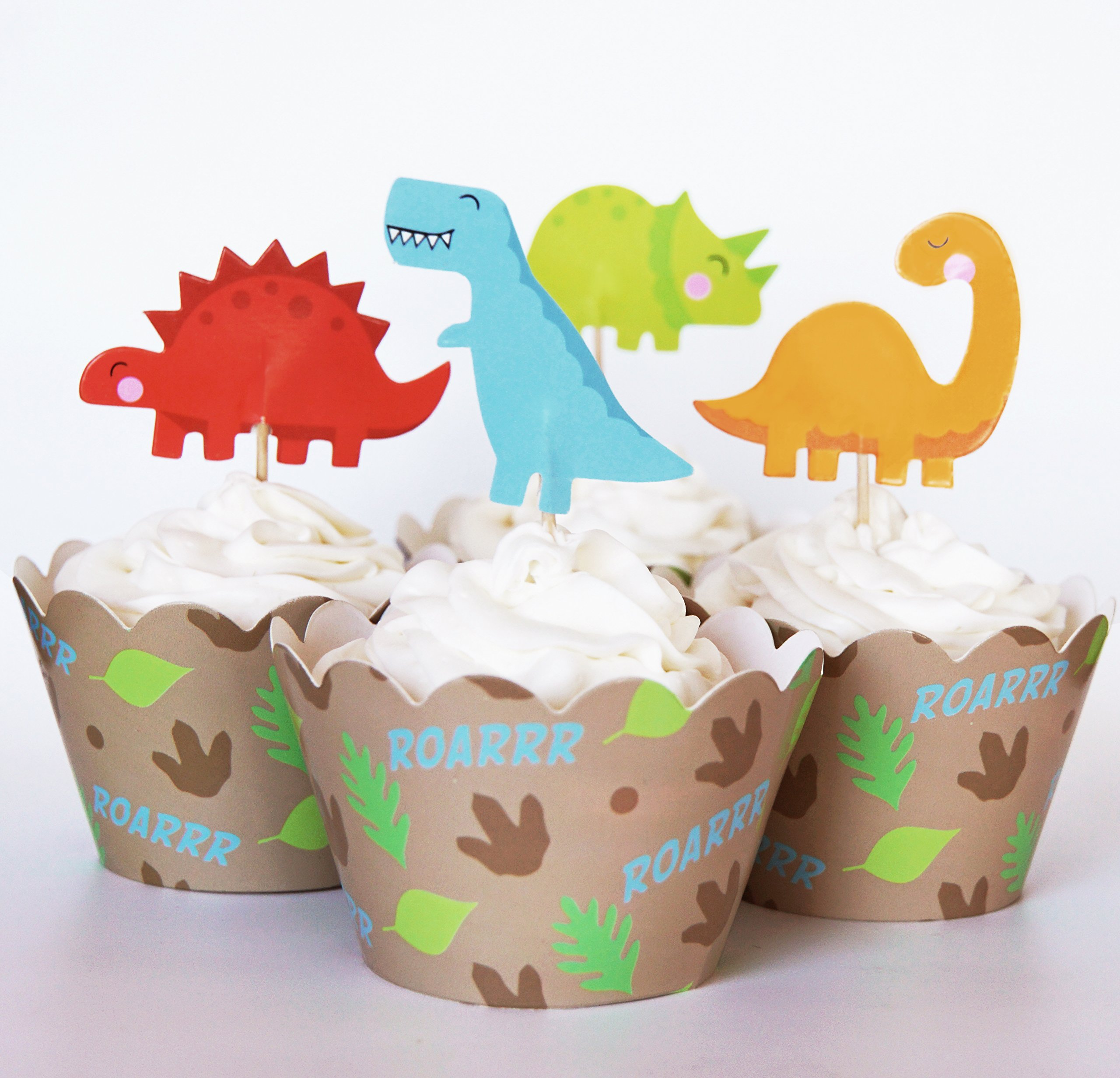 24 Dinosaur Cupcake Toppers + 24 Wrappers - Red Fox Tail